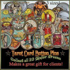 tarot cards major arcana button pins Tarot Cards Major Arcana, Graffiti, Gothic, Buttons, How To Make, Gifts, Goth, Presents, Favors