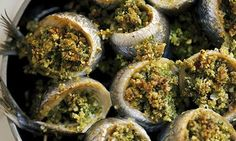 Nigel Slater's baked sardines with pine nuts and parsley. Photograph: Jonathan Lovekin for the Observer