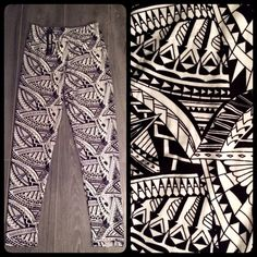 LAST ONE Black and White Tribal Geometric Legging NEW with tags  So Soft and Comfy and so Versatile!!  Can be worn as a casual outfit, dressed up with heels or for a workout!    Can also fold up and converted to capris!  Stretchy, one size fits all  Most comfortable leggings you will ever wear!  Black and White Tribal - Geometric Design  15% off when you bundle 3+ listings with EyeCandy Boutique  Thanks for looking!! Please follow and check out my other listings... Pants Leggings
