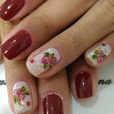 Nails decorated with gelish, designs, models and styles Crazy Nail Designs, Beautiful Nail Designs, Nail Art Designs, Rose Nails, Flower Nails, Fun Nails, Pretty Nails, Floral Nail Art, Fabulous Nails