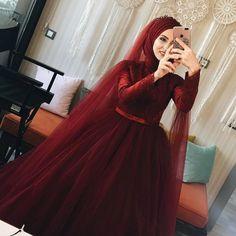 This image may contain: 1 th … – Wedding Dresses Hijab Prom Dress, Muslimah Wedding Dress, Muslim Wedding Dresses, Muslim Brides, Wedding Dress Styles, Bridal Dresses, Dress Outfits, Abaya Fashion, Muslim Fashion