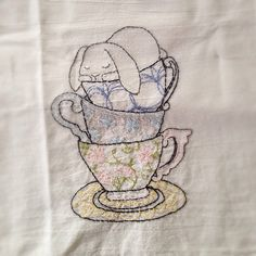 Teacup Bunny Hand Embroidered Dish Towel by StrongArtsAndCrafts