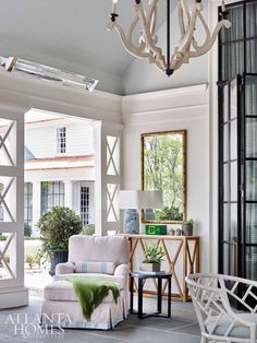 Atlanta Homes & Lifestyles' 2017 Southeastern Designer Showhouse (House of Turquoise) Outdoor Living Rooms, Living Room Decor, Living Spaces, House Of Turquoise, Atlanta Homes, House With Porch, Cool Ideas, Elegant Homes, Beautiful Homes