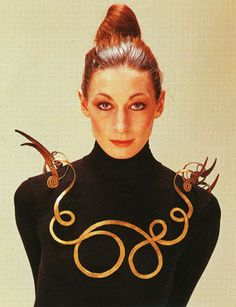 Necklace by Alexander Calder. Yes, THE Calder! 1940. Modeled by Angelica Huston in 1976.