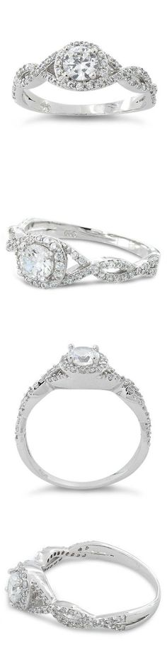 CZ Moissanite and Simulated 92868: .925 Sterling Silver 1.50Ct Round Cut Cz Infinity Halo Engagement Ring Sz 5-11 -> BUY IT NOW ONLY: $42.95 on eBay!