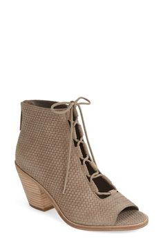 Basket-woven leather wraps a breezy bootie with a lace-up vamp and flirty open toe. @Nordstrom