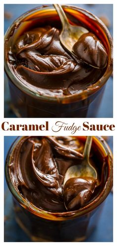 Chocolate Caramel Fudge Sauce - Baker by Nature - Dessert Recipes Dessert Sauces, Köstliche Desserts, Dessert Recipes, Plated Desserts, Cupcake Recipes, Salsa Dulce, Hot Fudge Sauce, Snacks Sains, Candy