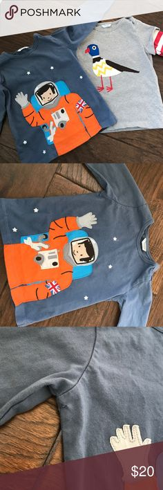 Baby boden boys shirts seagull and astronaut Boys size 2-3 years baby boden shirts. Seagull and astronaut. Seagull in excellent condition. Astronaut has a small hole under right arm as pictured. Long sleeve. Boden Shirts & Tops Tees - Long Sleeve