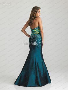 773a3d0e7f Black Teal Mermaid Prom Dress Sweetheart Beaded Waistband Bodice Full  Stretch Taffeta Dress P6715