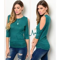 NEW Teal Ribbed & Rouched Open Shoulder Top Gorgeous Teal Ribbed & Rouched sides top. Features beautiful open shoulder design. Material is so soft and fits true to size. Only have limited quantities so get them now. Hottest color of the season. Price is firm unless bundled. You may purchase this listing as I've made individual ones for each size. Check the size of this listing please.  Country: USA Fabric Content: 67% POLYESTER 29% RAYON 4% SPANDEX Size Scale: S-M-L fits 2-4, 6-8, 10-12…