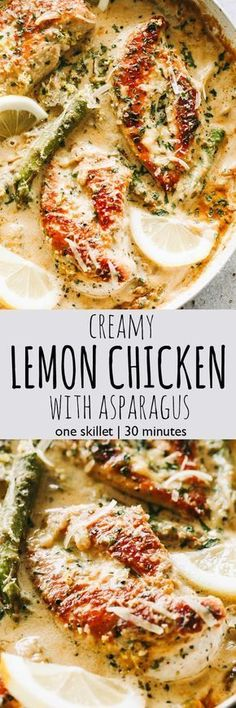 One Skillet Creamy Lemon Chicken with Asparagus – Delicious, bright, and simple, this lemon chicken recipe is the perfect easy weeknight meal made entirely in just one skillet and in under 30 minutes. #lemonchicken #oneskilletchicken #30minutemeal
