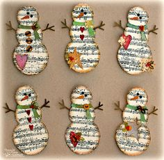 Love these snowmen! Take sheet music burn around edges and decorate.