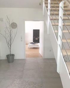 on Treppen in 2019 Tiled Hallway, Tile Stairs, Casa Loft, Floating Cabinets, Grey Bathroom Tiles, Hall Furniture, Limestone Flooring, Tile Design, Building A House