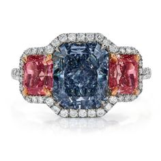 Vivid blue and pink fancy color diamond ring. We found this astounding ring thanks to @Johnny Copperstone Cantu