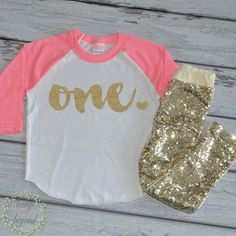 1 Year Old Birthday Outfit Girl 1st Birthday Outfit Set with Pants Trendy Toddler Girl Gold One Outfit Gold Sequin Pants Raglan Shirt 102 - Bump and Beyond Designs