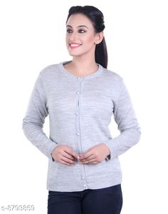 Checkout this latest Sweaters Product Name: *Ogarti woollen full sleeve round neck Grey Women's  Cardigan* Fabric: Acrylic Pattern: Solid Multipack: 1 Sizes:  M (Bust Size: 17 in, Length Size: 22 in, Waist Size: 16 in, Hip Size: 17 in, Shoulder Size: 13 in)  L (Bust Size: 18 in, Length Size: 23 in, Waist Size: 17 in, Hip Size: 18 in, Shoulder Size: 13 in)  Easy Returns Available In Case Of Any Issue   Catalog Rating: ★3.9 (414)  Catalog Name: Comfy Partywear Women Sweaters CatalogID_1504114 C79-SC1026 Code: 944-8793859-9911