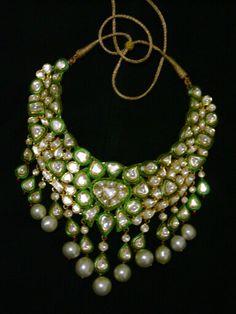 Green uncut set with green meenakari work
