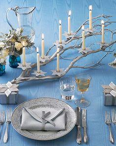 Elegant Hanukkah table setting.