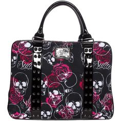 This large tote bag features red roses and and skulls screened onto canvas. It is fully lined with several interior pockets and a double zipper closure. This bag can easily fit all your necessities and could be a small overnight bag. Michael Kors Handbags Outlet, Mk Handbags, Handbags On Sale, Purses And Handbags, Hobo Purses, Rockabilly, Mk Bags, Tote Bags, Fashion Bags