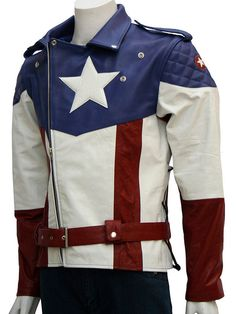 """""""Here's another version of Captain America's outfit in form of a Leather Biker Jacket. Captain America's costumes have changed over time, even in DC Comics. This vintage Leather Apparel is """"NOT"""" the e"""