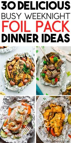 30 Best Delicious Foil Pack Dinners Get dinner from oven to table quick and easy with these best delicious foil pack dinners. Super healthy and crazy nutritious these easy foil pack dinners are a great dinner solution for busy folks. Foil Packet Dinners, Foil Pack Meals, Foil Packets, Tin Foil Dinners, Hobo Dinners, Clean Dinners, Plats Healthy, Snacks Sains, Easy Family Dinners