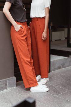 Red Trousers, White Sneakers, Parachute Pants, Instagram, Fashion, White Tennis Shoes, Moda, Fashion Styles, Fashion Illustrations