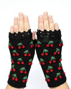 Gloves With Cherries Knit Fingerless Gloves Black