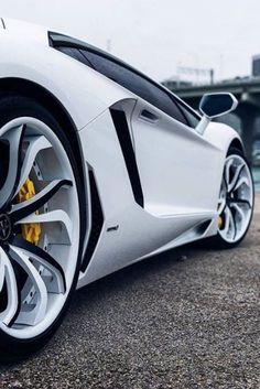White Lamborghini Aventador on Vellano Wheels