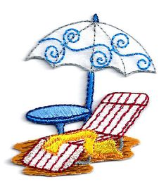 Beach - Summer - Umbrella, Towel & Chair - Vacation - Embroidered Iron On Patch #Unbranded