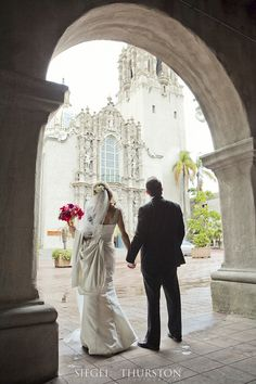 balboa park is a beautiful place for wedding portraits.  The historic buildings and amazing archways lend themselves to romantic photos.
