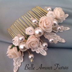 Cream rose & pearl bridesmaids prom floral comb,lace wedding hair accessories | eBay