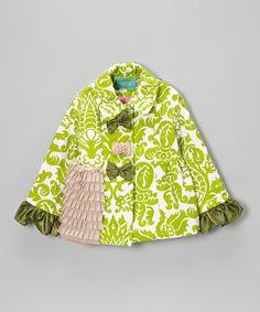 Look at this #zulilyfind! Kalliope Green Floral Fairy Dust Jacket - Toddler & Girls by Kalliope #zulilyfinds