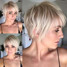 Best Short Layered Pixie Cut Ideas In every period of rapidly changing hai. - - Best Short Layered Pixie Cut Ideas In every period of rapidly changing hai. Blonde Hair With Bangs, Short Hair With Bangs, Haircuts With Bangs, Short Hair Cuts, Short Hair Styles, Short Pixie, Fine Hair Cuts, Pixie Cut With Bangs, Popular Short Hairstyles