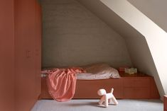 """The colourful bedrooms that Note Design Studio has slotted beneath the roof of this Stockholm loft apartment are meant to resemble """"life-sized building blocks"""". Note Design Studio, Design Café, Notes Design, Custom Made Furniture, Furniture Making, Home Furniture, Cream Leather Sofa, Best Interior, Interior Design"""