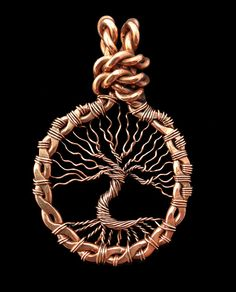 Copper Tree of Life Wire Wrapped Necklace от JewelryFusion на Etsy