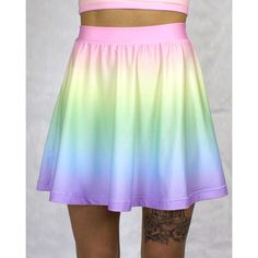 Cotton Candy Pastel Skater Skirt (Printed to Order) (915 MXN) ❤ liked on Polyvore featuring skirts, women skirts, wet look skirt, knee length circle skirt, african print skirt and knee length skater skirt