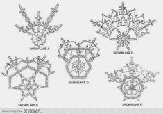 3 Crochet Snowflakes Christmas Decor Ornaments by CarolBeckDesigns – Snowflakes World Crochet Diagram, Crochet Motif, Irish Crochet, Crochet Doilies, Crochet Flowers, Crochet Stitches, Crochet Patterns, Crochet Snowflake Pattern, Crochet Stars