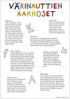 Värinauttien aakkosarkku on auki! Finnish Language, Early Childhood Education, Children, Kids, Mindfulness, Teacher, Writing, Reading, Pictures