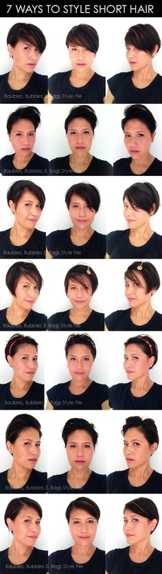 What a helpful pin!!!! 7 Ways to Style Short Hair - @Tonya Potts Romance