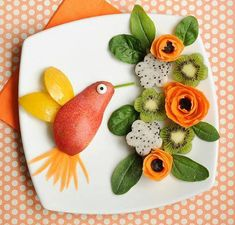 This is food art at its finest, turning fruit and veg into a beautiful work of food art! - T.Tavakoli.V