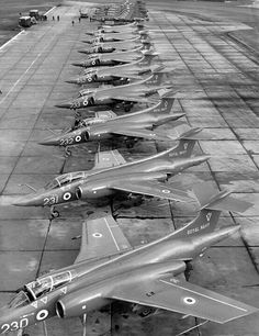 Hawker-Sideley Buccaneers on the line Air Force Aircraft, Navy Aircraft, Aircraft Photos, Military Jets, Military Aircraft, British Aircraft Carrier, Blackburn Buccaneer, South African Air Force, Navy Carriers
