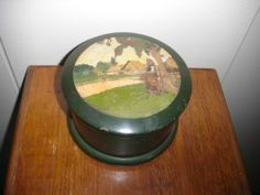 Antique Russian Carved Hand Painted Wooden Wood Round Box Folk Art Scene 4