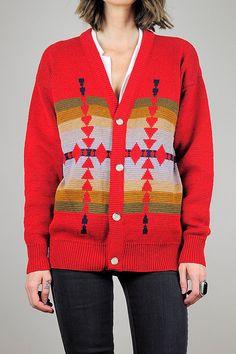 1970's Pendleton NAVAJO wool sweater cardigan //  NOIROHIO VINTAGE