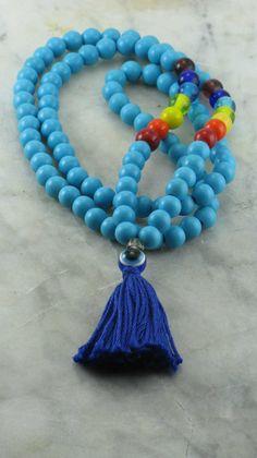 Chakra Mala Beads Turquoise Mala Beads Buddhist Prayer Beads, 108 Mala Beads for Chakra Alignment, Wholeness, Healing, Free Shipping