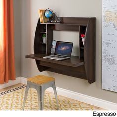 Utilize the space in your home office efficiently with this floating desk. Plenty of shelf space and compartments give this desk organizational ability without becoming cluttered. This sturdy desk has