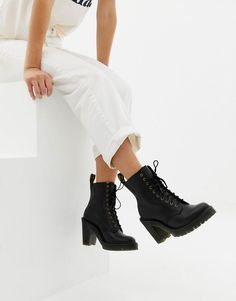 Dr Martens Kendra Black Leather Heeled Ankle Boots at asos.com 802893686e