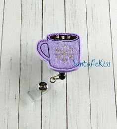 Hot Cocoa Felt Badge Holder with Retractable Badge by SantaFeKiss