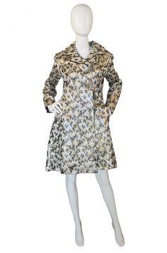 Stuning Late 1950s Metallic Ceil Chapman Silk Brocade Coat