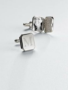 Locket cuff links - sterling silver