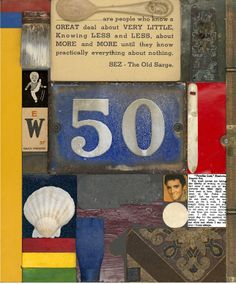 Wooden Puzzle Series: 50 | Limited edition silkscreen with glitter, embossing, collaged elements and glazes | 27 x 24 inches (framed) | £2,000 | Peter Blake has composed this collage from images and objects which include a shell, knife, ruler, a house number plaque and a picture of Elvis Presley.